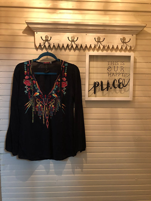 Johnny Was: Black Embroidered Top