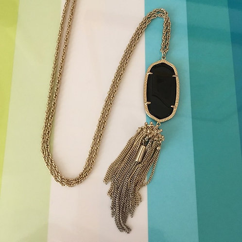 Kendra Scott Black Stone + Tassel Necklace