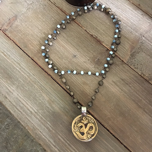Two Stand Rosary Bead Necklace+Pendant