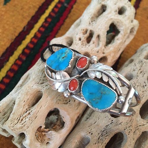 Coral+Turquoise Navajo Garden Bracelet