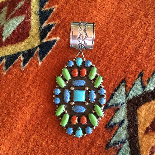 Signed Multi-Stone Navajo Pendant