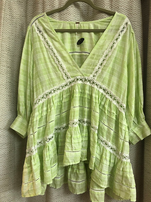 Free People Lime Green Lace Detail Blouse