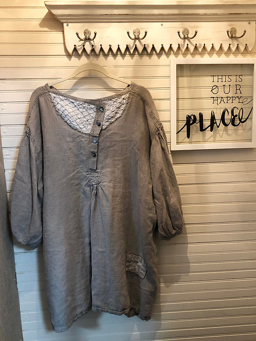 Magnolia Pearl: Taupe Linen Top
