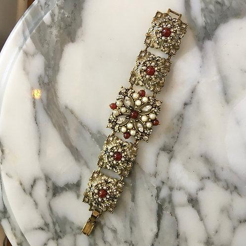 Heidi Daus Pearl+Red Stone Bracelet