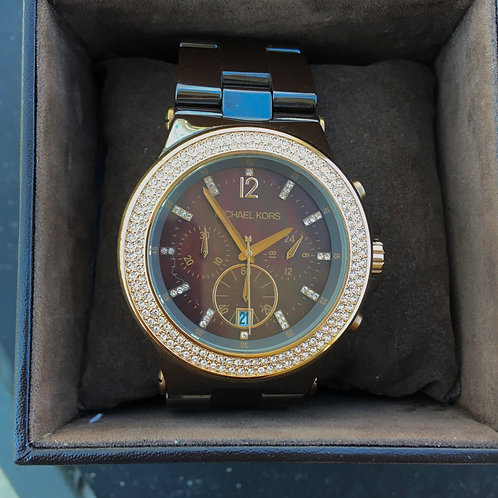 Michael Kors Rhinestone+Metal Link Watch