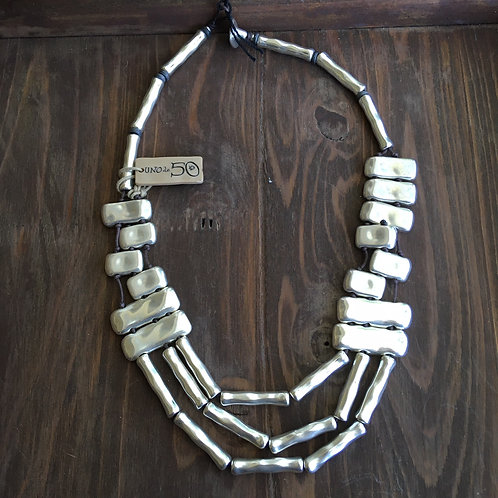 Uno de 50 Rectangle+Long Silver-Plated Bead Necklace