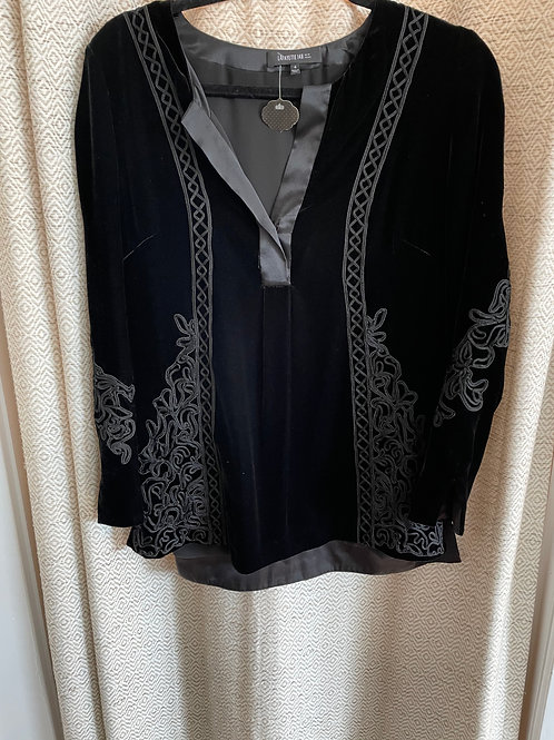 Lafayette Black Velvet Embroidered Top