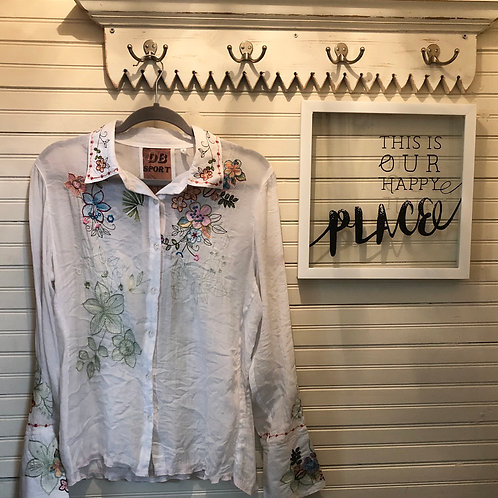 DB SPORT: Sheer White Embroidered Top + French Cuffs