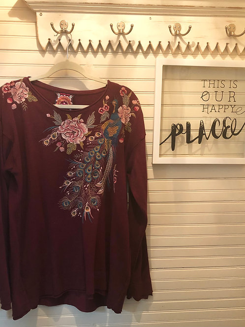 Johnny Was: Burgundy Embroidered Thermal Top