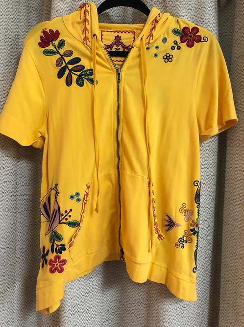 Johnny Was Yellow Embroidered Jacket