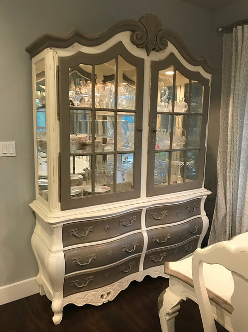 French Country lighted cabinet