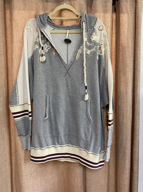 Free People Embroidered Hoodie