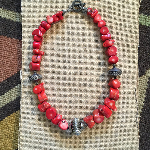 Coral ChunkNecklace with Silver Beads