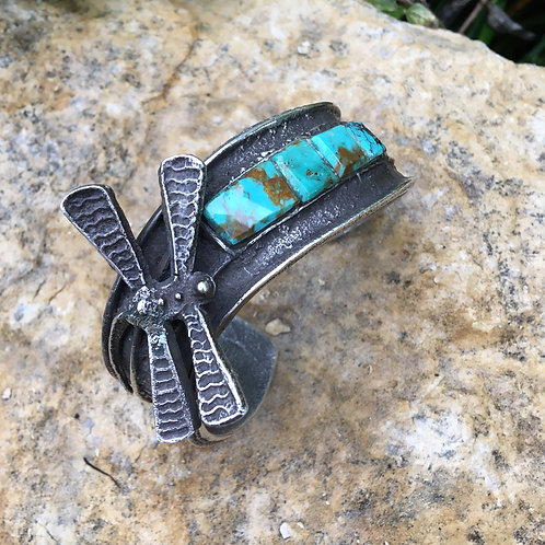 "Navajo Sterling ""Tufa"" Dragonfly +Turquoise Bracelet"