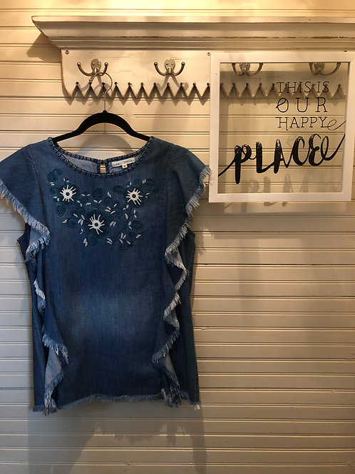 Angel + Pemium: Blue Jean + Embroidered Blouse