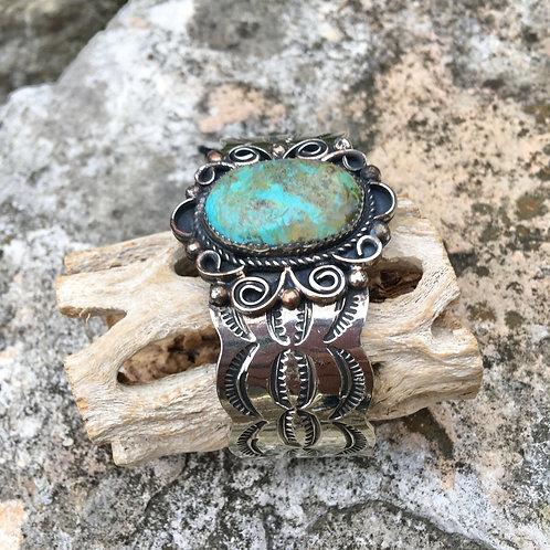 Turquoise+Nickel Cuff