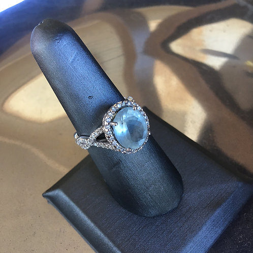 Aquamarine Ring in White Gold Setting + Diamonds