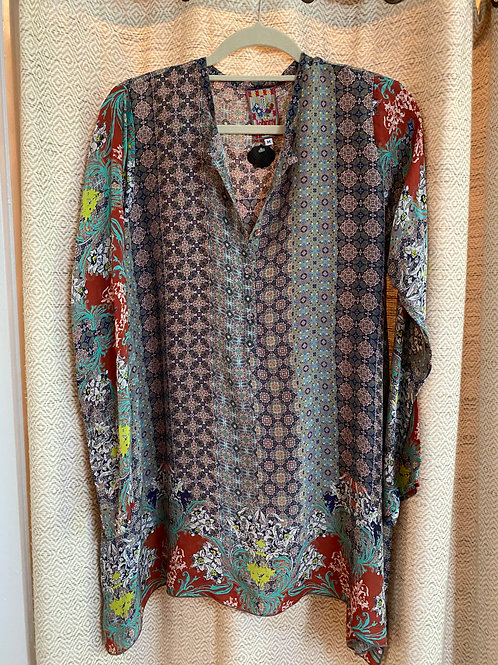 Johnny Was Multicolored Silk Caftan Tunic