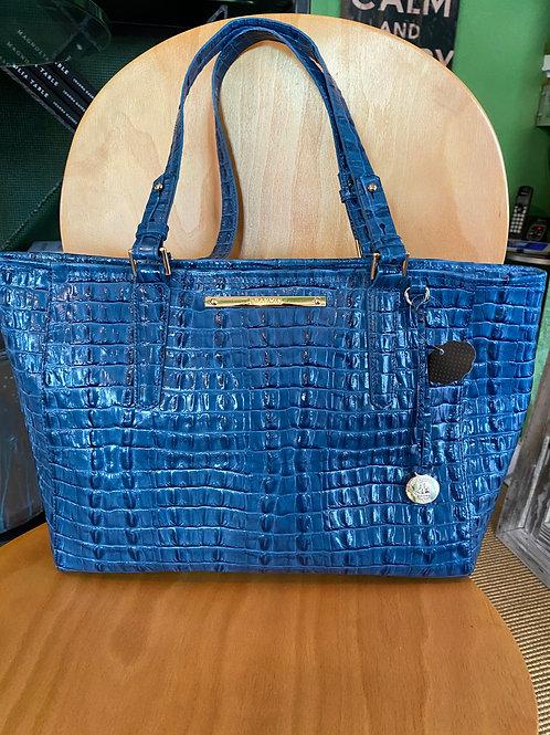 BrahminEmbossed Royal Blue Leather Purse