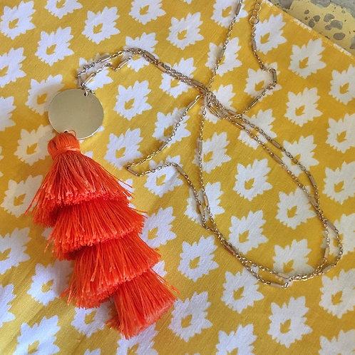 Coral-Orange Tassel Necklace