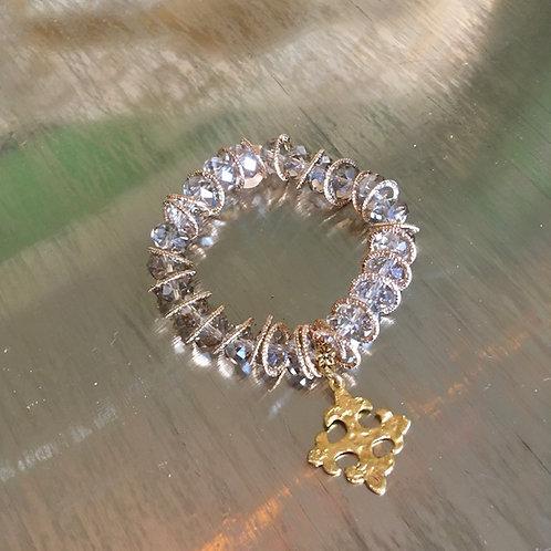Michael Gabriel: Crystal Bead + Greek Cross Charm Bracelet