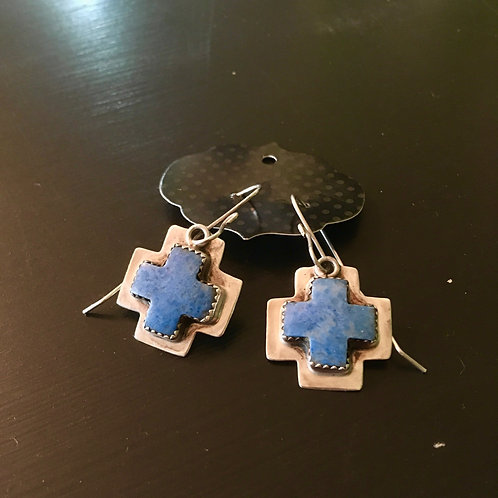 Lapis Cross Earrings