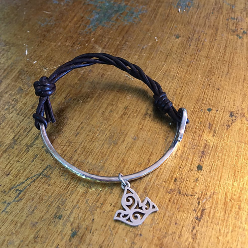 """James Avery """"As You Wish"""" Sterling & Leather Bracelet"""