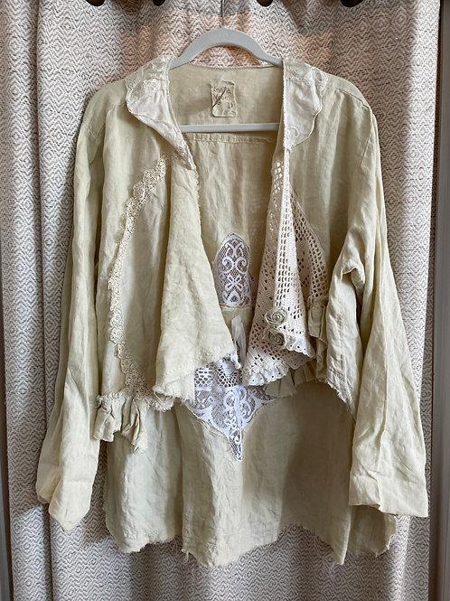 Lalia Moon Linen & Crochet + Lace High Low Jacket