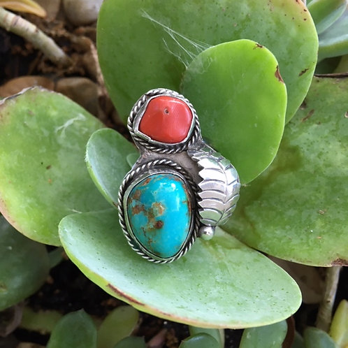 Vintage Silver, Turquoise + Coral Ring