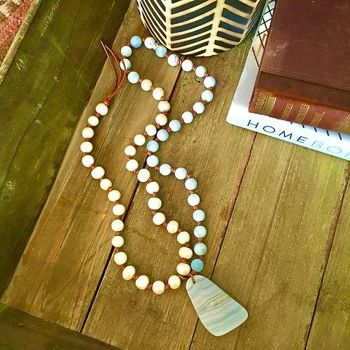 Carol Penn Pearl+Blue Agate Necklace