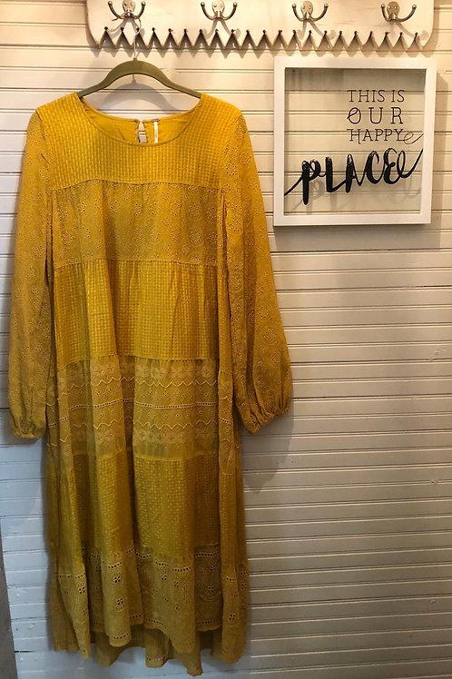 Free People: Mustard Yellow Dress