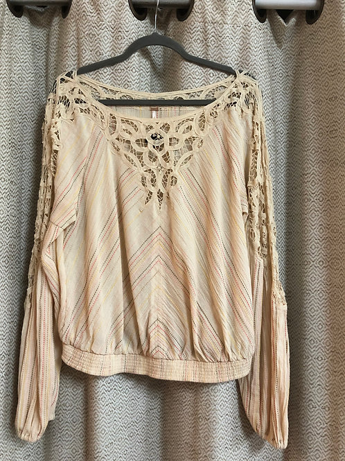 Free People Beige Cotton Embroidered Top