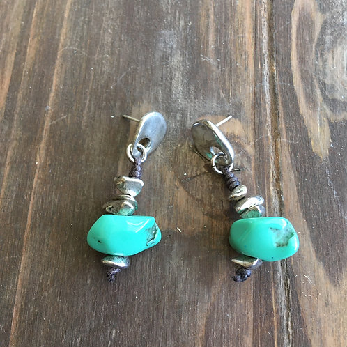 Uno de 50 Silver-Plated & Tuquoise Stone Earrings
