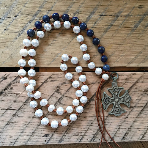 Carol Penn hand knotted pearls +blue stone beads