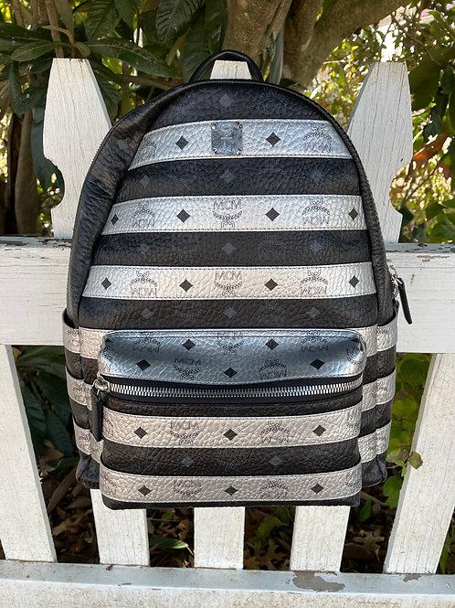 MCM Black + Silver Backpack