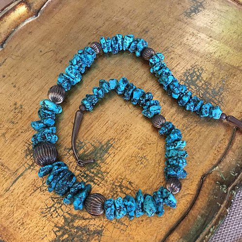 Vintage Turquoise Chunk Necklace