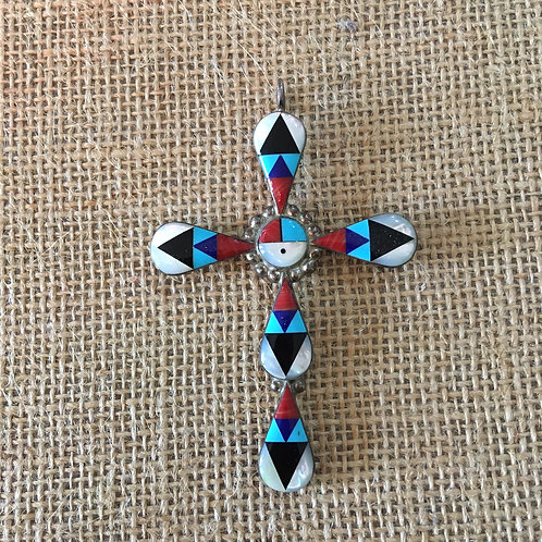 Zuni Inlaid Cross + Sun God Center