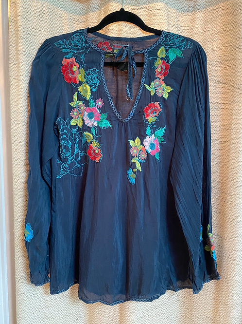 Johnny Was Dark Teal Embroidered Silk Blouse