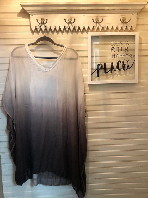 Sofia:Sheer Grey Gradient Silk Dress