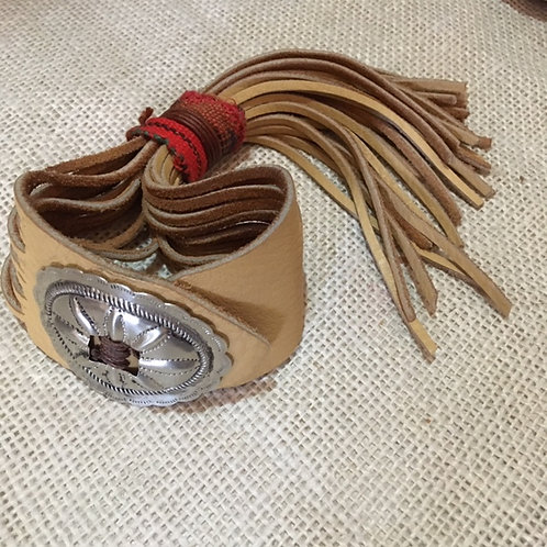 Single Concho Leather Fringe Bracelet