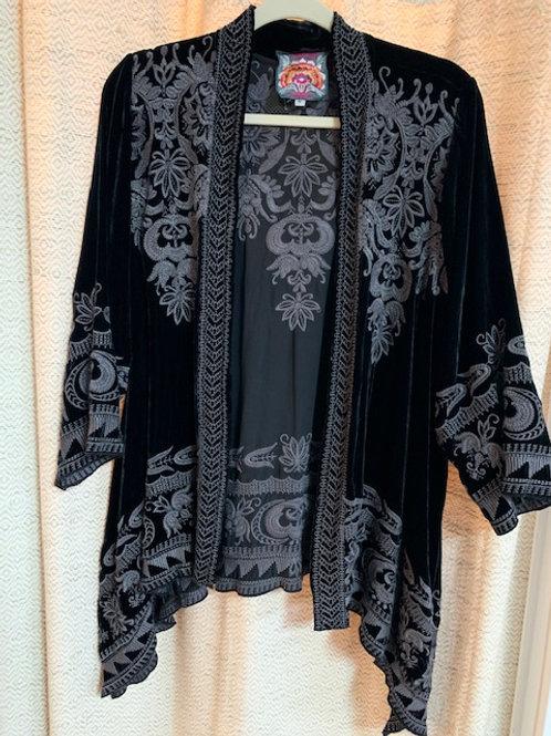 Johnny Was Black Velvet Embroidered Jacket