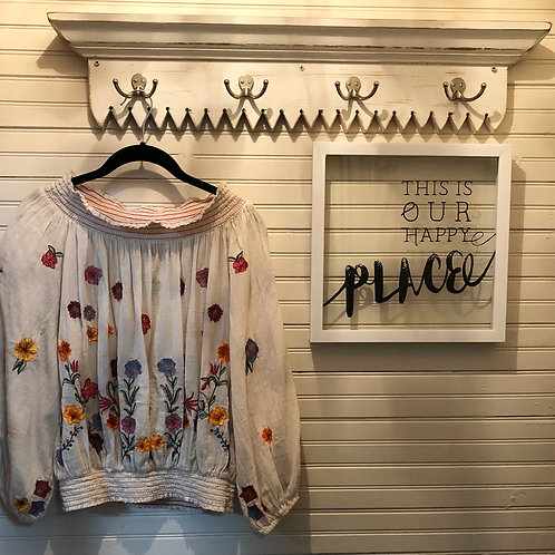 Aratta: Sheer Cream Embroidered Top