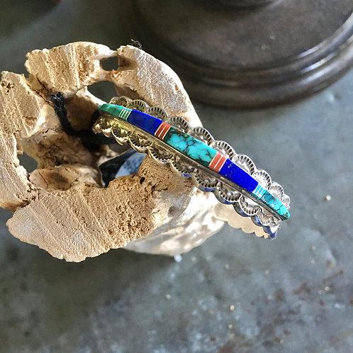 Inlaid Sterling+Stamped Bracelet