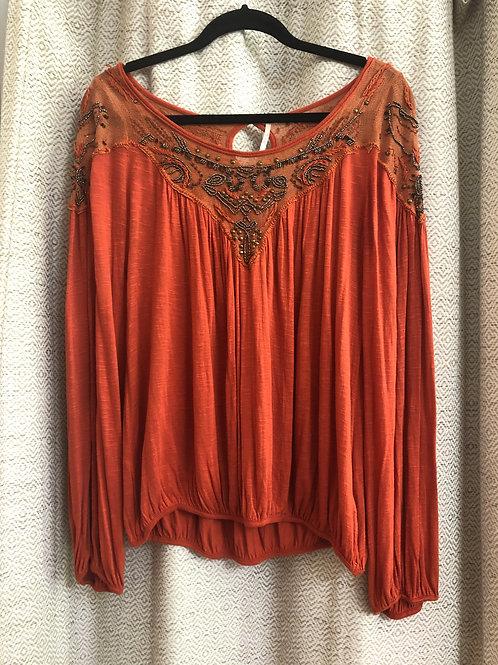Free People Orange Cotton Lace+Beaded Blouse