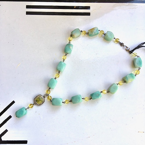 Stone and Bead necklace by Anasara of Kerrville