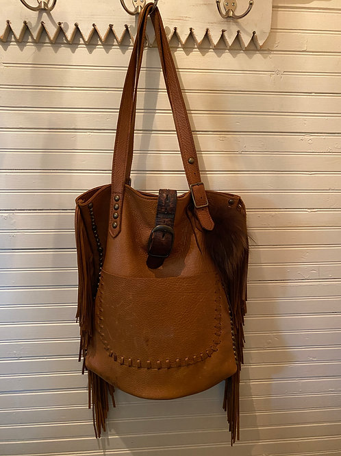 Mcfadin Brown Leather+Fringe Purse