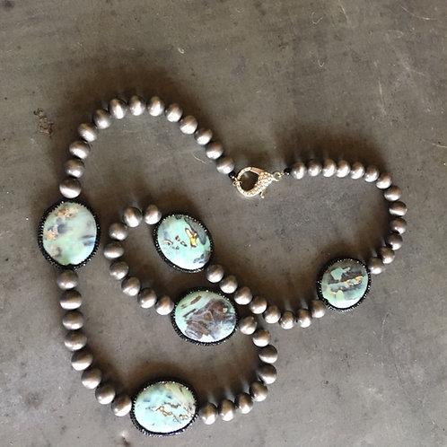 Druzy, Crystal & Metal Bead Necklace