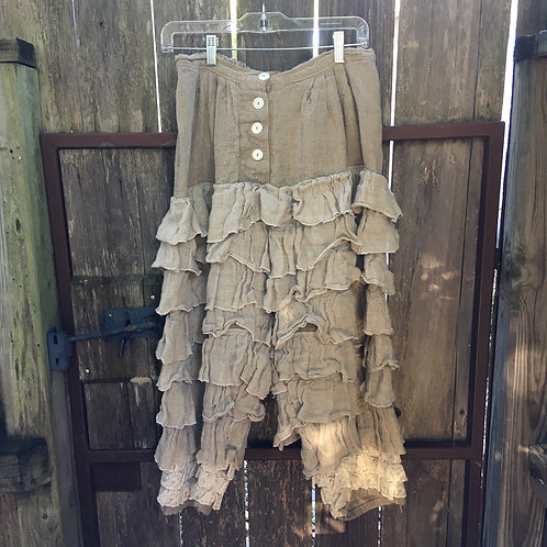 "Magnolia Pearl ""Edelweiss"" Ruffle Linen Pant"