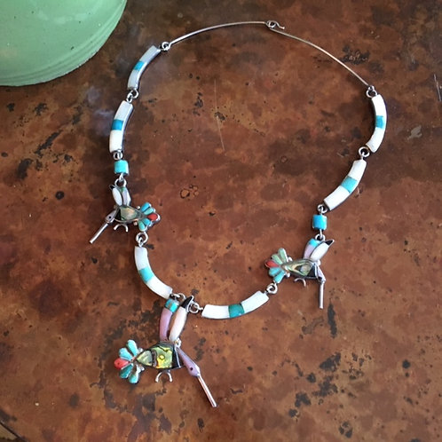 Zuni inlayed Hummingbird necklace
