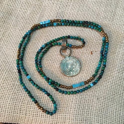 Crow HeartMalachite+Turquoise+Bronze Necklace